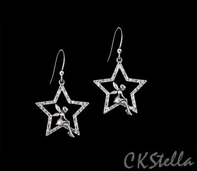 *CKstella*  Star Fairy Angel Pewter Dangle .925 Sterling Silver Earrings