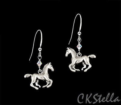 *CKstella*  Galloping Horse Pewter Sterling Silver Earrings w/ Swarovski Crystal