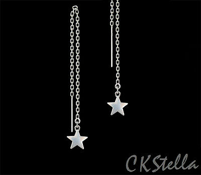 *CKstella*  Twinkling 3D Star Threader Sterling Silver Ear Thread Earrings