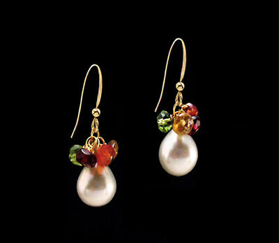 Multi Gem White Pearl Peridot Garnet Citrine Carnelian  14K Gold gf  Earrings