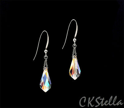 *CKstella*  Sterling Silver Earrings w Swarovski Crystal AB Drop Aurora Borealis