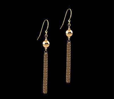 14K Gold gf  Ball Tassel Filigree Dangle Earrings