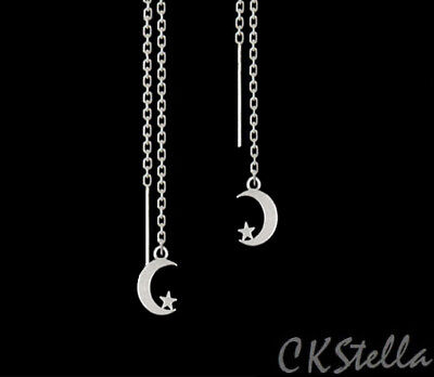925 Sterling Silver Drop Earrings (*CKstella*  925 Sterling Silver Ear Thread Threader Earrings w/ Moon Star)