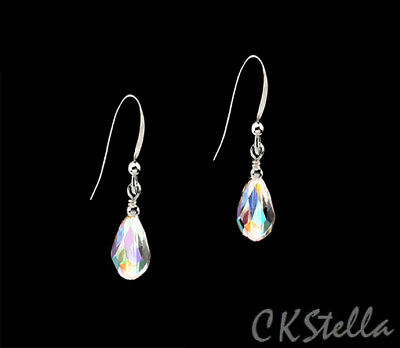 *CKstella*   .925 Sterling Silver Earrings w/ Swarovski Crystal Aurora Borealis