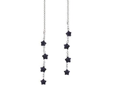 *CKstella* Twinkling Little Star Night Blue Goldstone Sterling Silver Ear Thread - Twinkling Stars