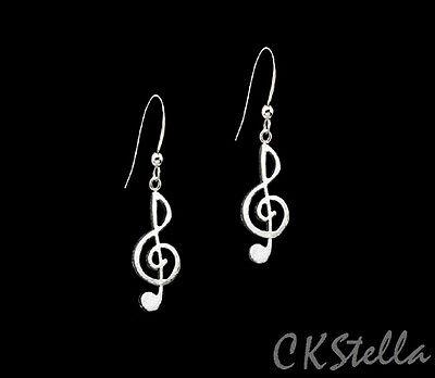 - *CKstella*  Music Note Treble Clef Pewter Dangle .925 Sterling Silver Earrings