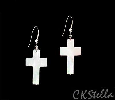 *CKstella*  Cross MOP Shell Cream White Dangle 925 Sterling Silver Earrings Dangling Shell Cross