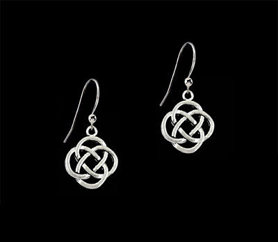 *CKstella*  Celtic Eternity Pewter Knot Sterling Silver Ear Wire Earrings