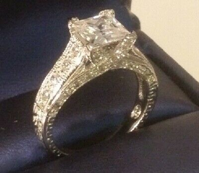 3.20 Ct Princess cut Solitaire Diamond Engagement Ring Pave Gift White Gold ov