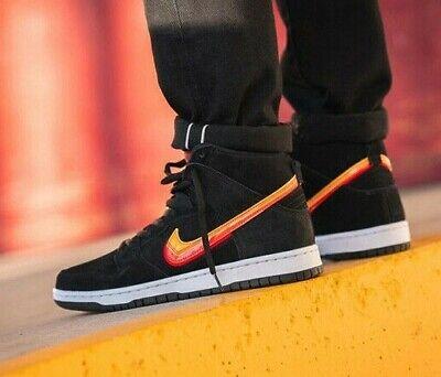 Nike SB Dunk High Pro - Black / Team Orange / Red / Gold - 5-13UK BQ6826-003