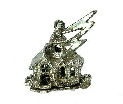VINTAGE SILVER OPENING HAUNTED HOUSE CHARM