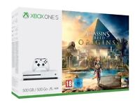 **SEALED** XBOX ONE S & ASSASSINS CREED ORIGINS GAME & 1 MONTH XBOX GAME PASS, BRAND NEW 500GB