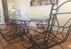 PRICE DROP: High-end wrought iron 8 piece patio set
