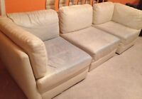 Three-Piece Sectional, Beige Leather Sofa