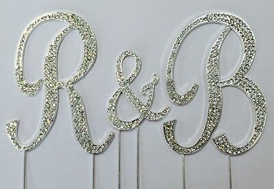 Rhinestone Crystal Covered Monogram Initial Letter Wedding Large Cake Topper Set - Initial Wedding Cake Toppers