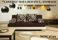 3 in 1. SOFA + BED + STORAGE. START AT $799. NOT A FUTON!
