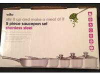 5 piece stainless steel saucepan set