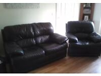 Real leather settee & armchairs