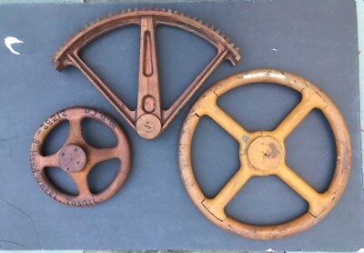 three vintage wood industrial foundry molds two wheels