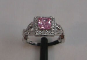 ((SALE)) 10K White Gold Filled Pink Sapphire Ring - sz 7