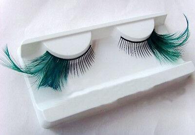 Extra Long-Tail Blue Makeup Handmade False Fake Party  Eyelashes