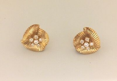 VINTAGE TIFFANY & CO. FLARED DIAMOND EARRINGS 18K YELLOW GOLD