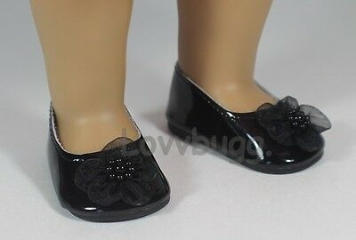"Lovvbugg Sweet Flower Flats Black for 18"" American Girl or Bitty Baby Doll Shoes"
