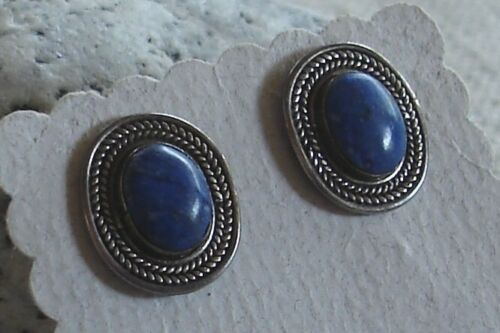 Unique Vintage Mexican Sterling Silver Lapis Post Stud Earrings 4.6 grams Mexico