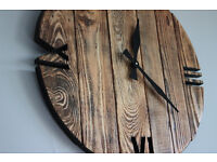 Pallet Wood Wall Clock 'Old Style' Art Industrial Vintage Rustic Shabby Chic