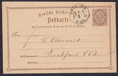 DR P 1 Postkarte mit K1 Berlin P.A.3 - Frankfurt Oder 1874, GA Ganzsache