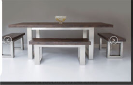 Immaculate eat sleep live reclaimed wood dining table with end benches