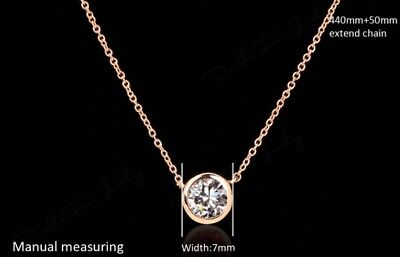 - Rose Gold Plated Bezel Set Round Zirconia Pendant Link Chain Simple Necklace