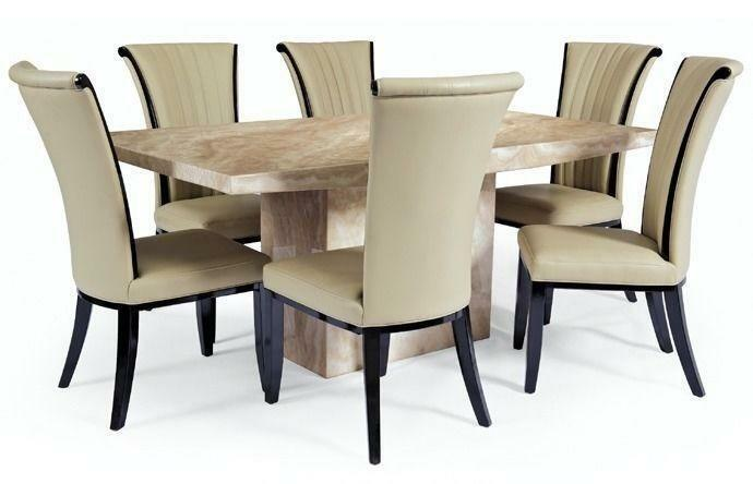 Stunning Crema Marble Effect Dining Table 6 Alpine Leather Chairs In