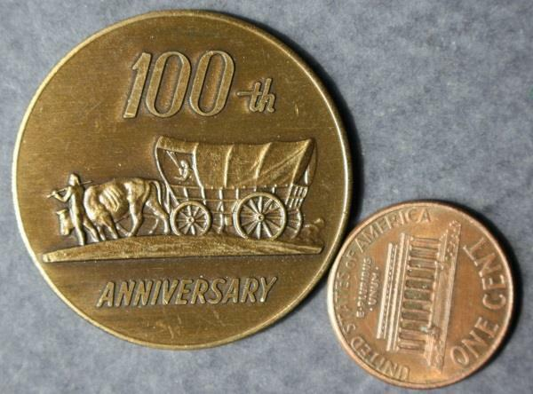 1969 Piper City Illinois 100th anniversary Centennial token-Oxen Pioneer Wagon!