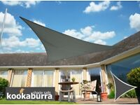 UNUSED Garden Shade SAIL Kookaburra Dark grey Triangle Charcoal Waterproof