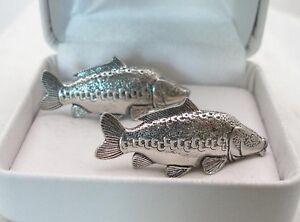 Mirror Carp Cufflinks in Fine English Pewter, Gift Boxed, fishing, fish (ts)