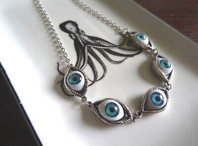 Eye Ball Necklace Alien Eye Halloween Choker Antique Silver Blue Human Eyes