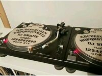 Pair of Technics 1210 Turntables With Shure Whitelabel Carts + Sicmats