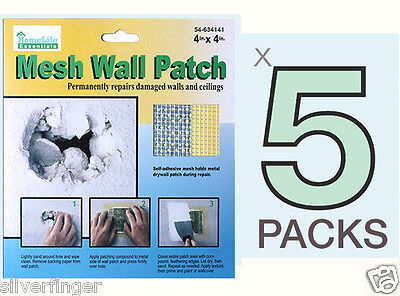 """5 PACKS • DRYWALL REPAIR PATCH Fix Dry Wall Hole Ceiling Damage —Metal Mesh 4X4"""""""