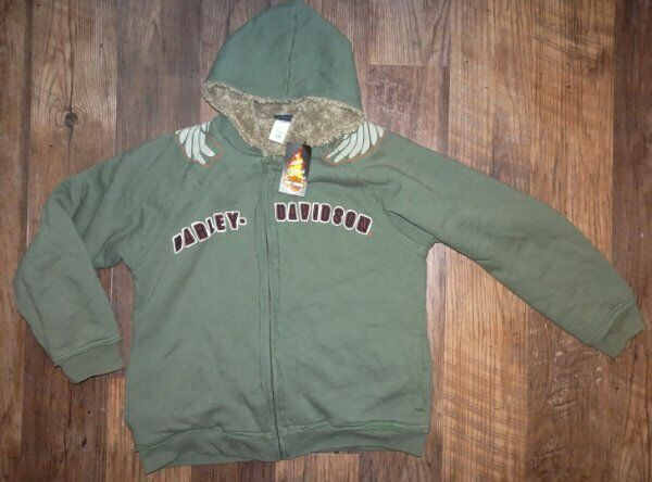 Harley Davidson Boys Jacket size 12/14 Fleece Lined Hoodie New Long Sleeve