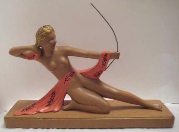 "Fabulous Antique Chalkware Art Deco Statue Diana the Huntress 14"" ABCO N.Y. 1940"