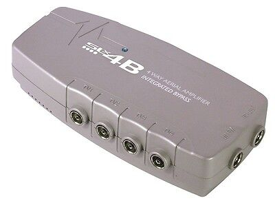 4-Way Digital TV Sky Aerial Signal Booster Amplifier Bypass