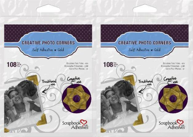 "Scrapbook Adhesives (2) packs of 108 Gold Photo Corners each  1/2""   426397"