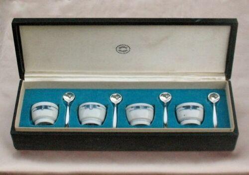 SET 4 ~ GEORG JENSEN Sterling Salt Spoons & Blue Gemina GETRUD VASEGAARD Cellars