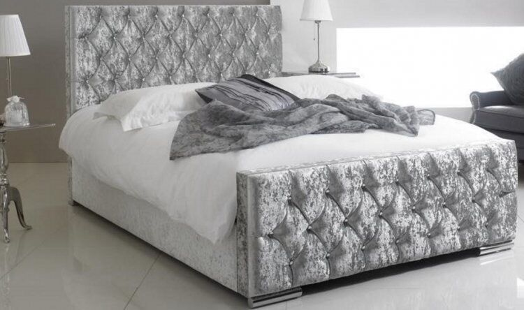 New Boxed Crushed Velvet Bed Silver Free Delivery In