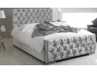 NEW BOXED crushed velvet bed silver FREE Delivery