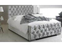 Silver Crushed Velvet Double Bed - Free Delivery
