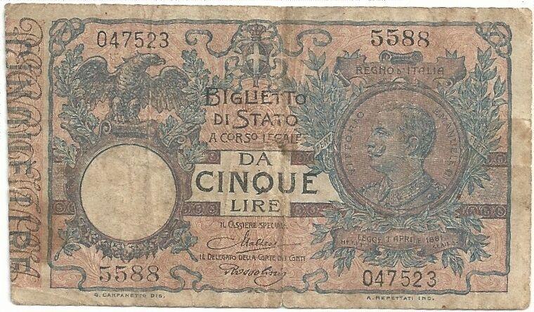 Italy -  5 Lire, 1914