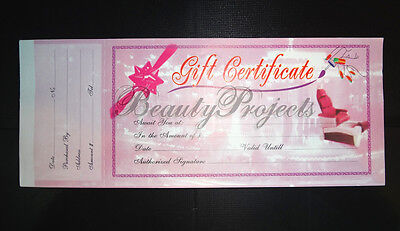 50pcs Pink Gift Certificates Professional Nail Beauty Salon 1 Booklet/50 Sheets
