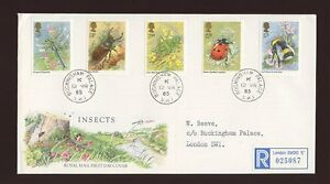 1985-British-Insects-ROYAL-COURT-Post-Office-with-BUCKINGHAM-PALACE-CDS-FDC